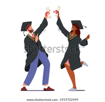 Male and Female Alumnus Characters Graduating University, College or School. Cheerful Graduates People in Academical Cap and Gown Rejoice with Diploma Certificate. Cartoon People Vector Illustration Foto stock ©