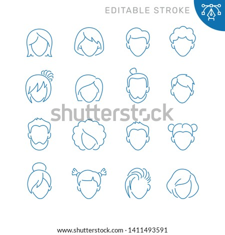 Male and female avatars icons. Editable stroke. Thin vector icon set
