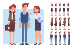 Male and female business people. Flat Vector characters for your scenes. Character creation set with various views, face emotions. Parts of body template for design work and animation.