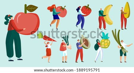 Male and female character set eating healthy Men and women whose fruits and vegetables are energy sources Alternative Health Care Isolated On Cartoon People Illustration Background