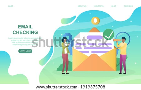 Male and female characters are checking mail. Concept of new email message, mail notification. New mail in envelope. Website, web page, landing page template. Flat cartoon vector illustration