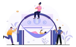 Male and female characters are enjoing listening to music. Young men and women are using music application to stream their favourite music. People next to headphones. Flat cartoon vector illustration