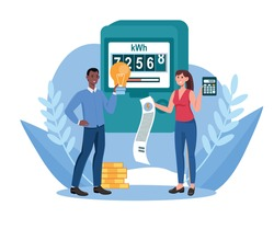 Male and female characters are paying utilities together. Concept of invoice and electricity meter. Man and woman worried and stressed over bills. Flat cartoon vector illustration