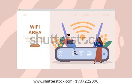 Male and female characters are using wifi next to wifi router. Concept of better internet coverage and strong connection. Website, web page, landing page template. Flat cartoon vector illustration
