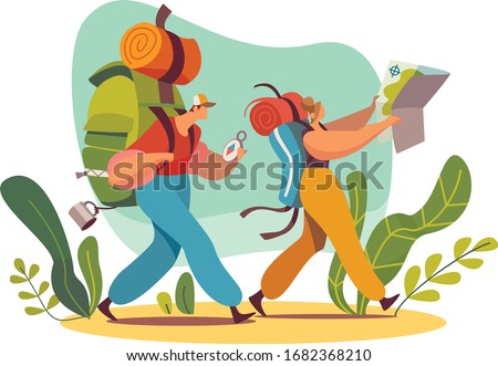 Male and female characters backpacker with map in forest, travel and trip vector illustration, isolated on white background. Exploring the world, outdoor camping concept. Colorful flat style.