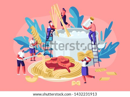 Male and Female Characters Cooking Pasta, Putting Spaghetti and Dry Macaroni of Various Kinds, Fusilli, Conchiglio, Rigatoni, Farfalle, in Huge Pan with Boiling Water Cartoon Flat Vector Illustration