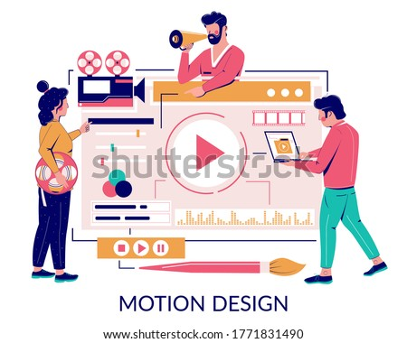 Male and female characters designers, animators, storytellers creating motion graphic content, vector flat illustration. Motion graphic studio concept for web banner website page etc.