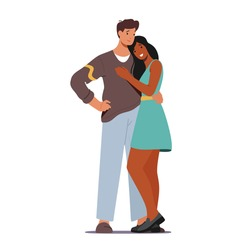 Male and Female Characters Hugging. Loving Couple Romantic Relations. Man and Woman Embrace Each Other, Happy Lovers Dating, Love Feelings, Romance Emotions. Cartoon People Vector Illustration