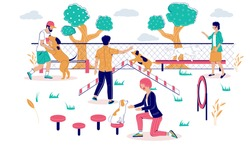 Male and female characters pet owners, trainers playing with dogs on playground in city park, vector flat illustration. People training, teaching dogs basic commands.