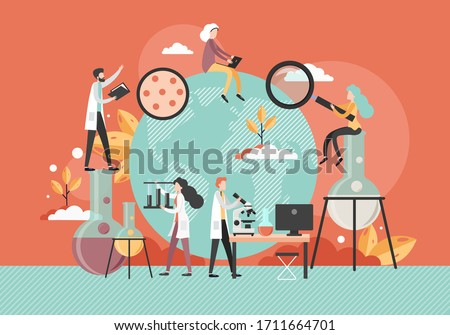 Male and female characters scientists or lab attendants working in science laboratory using microscope, lab glassware, vector flat illustration. Scientific research, experiment, science and education.