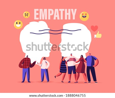 Male and Female Characters Show Empathy, Emotional Intelligence Concept. Communication Skills, Reasoning and Persuasion, People Listen and Support Each Other, Open Mind, Cartoon Vector Illustration Photo stock ©