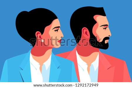 Male and female close-up portraits, side view. Vector illustration