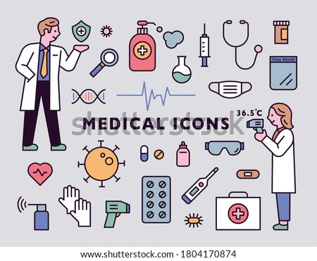 Male and female doctor characters and medical icon set. flat design style minimal vector illustration.