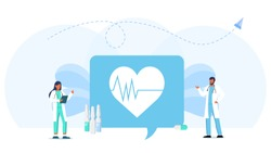 Male and female doctor in white coats are standing next to the cardiogram icon of the heart. Online medical consultation and support. Online doctor. Healthcare services, Ask a doctor.