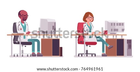 male and female doctor working