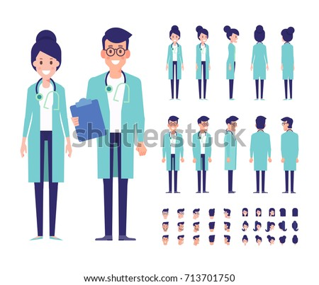 Male and female Doctors vector set for animation. Character creation set with various views and poses. Parts of body template for design work and animation.