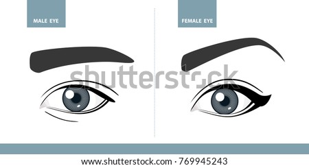 Male and Female eyes. Vector illustration. Template for Makeup or ophthalmology