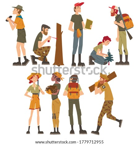 Male and Female Forest Rangers Working in Forest Set, National Park Service Employee Characters in Uniform Cartoon Style Vector Illustration Stock photo ©
