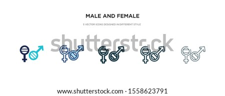 male and female gender icon in different style vector illustration. two colored and black male and female gender vector icons designed in filled, outline, line stroke style can be used for web,