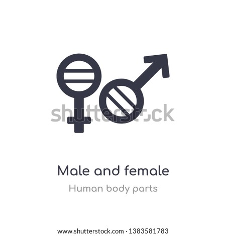 male and female gender outline icon. isolated line vector illustration from human body parts collection. editable thin stroke male and female gender icon on white background