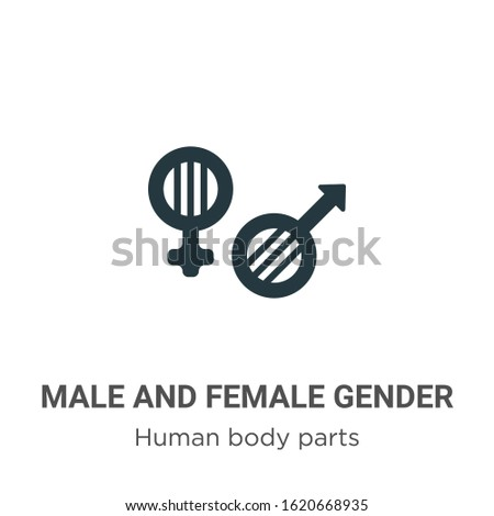 Male and female gender symbols glyph icon vector on white background. Flat vector male and female gender symbols icon symbol sign from modern human body parts collection for mobile concept and web
