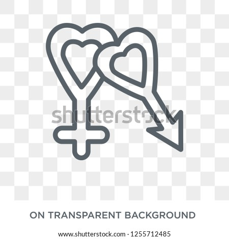Male and female gender symbols icon. Trendy flat vector Male and female gender symbols icon on transparent background from Human Body Parts collection. High quality filled Male and female gender