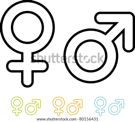 Male and female gender symbols vector icons