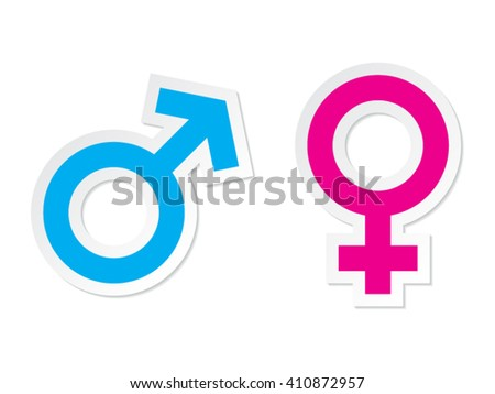 Male and Female Gender Vector Paper Labels