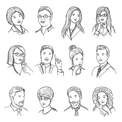Male and female hand drawn illustrations for pictograms or web avatars. Different business faces with funny emotions. Vector set of business people face female and male illustration