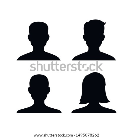 Male and female head silhouettes avatar, profile icons. Vector.