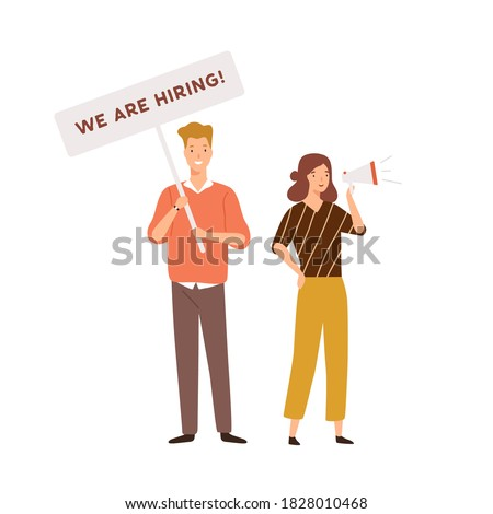 Male and female HR managers announce vacancy, carry placard with inscription we are hiring and talk to megaphone vector flat illustration. Head hunting, recruitment or searching employee isolated