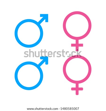 Male and female icon.Sign of gender of male, female. Gender symbol on isolated background. vector eps10