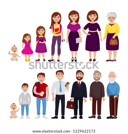Male and female Life cycle from childhood to old age vector flat illustration. Cheerful cute cartoon characters isolated on white background for infographic design and web graphic.