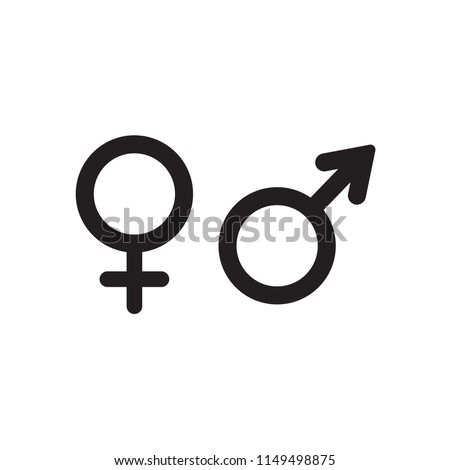 Male and female mars and venus icons isolated