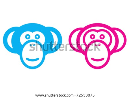 Male and female monkey vector signs.