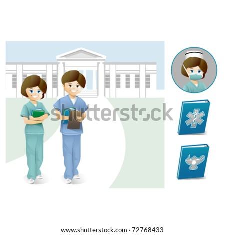 Male and female nurse students in front of a college campus. - stock vector