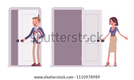 Male and female office secretary. Smart man and attractive woman in elegant wear, opening a door, meeting people. Business workwear trend and city fashion. Vector flat style cartoon illustration
