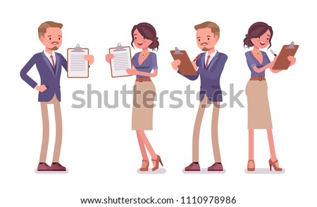 Male and female office secretary with clipboard. Smart man and attractive woman in elegant wear, assisting in paper work. Business workwear trend, city fashion. Vector flat style cartoon illustration