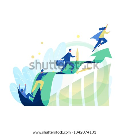 Male and female office workers, managers or clerks climbing on ascending chart. Business goal achievement, career ladder progress and advancement, professional competition. Flat vector illustration.