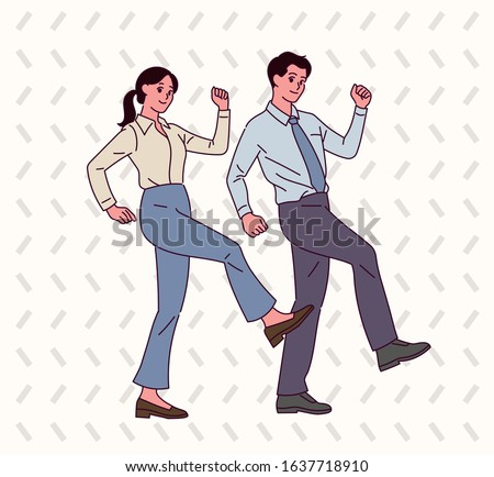 Male and female office workers pose the same humorous pose. hand drawn style vector design illustrations.