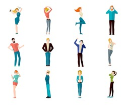 Male and female people listening to the music and dancing avatar icons set isolated vector illustration