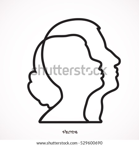 Male and Female Profile Vector Icon Illustration