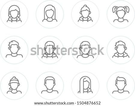 Male and Female Profiles vector set. Avatar collection with man and woman characters. Avatars suitable for profile page, social network, social media, info graphics, websites, print and interfaces.