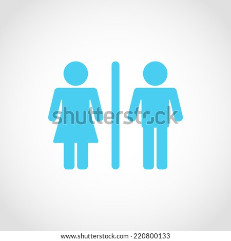 Male and Female Restroom Symbol Icon Isolated on White Background
