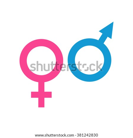 Icons Of Male And Female Symbols Isolated On Grey Background Man