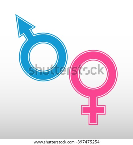 Male and female sex symbols. Venus and Mars. Vector graphic.