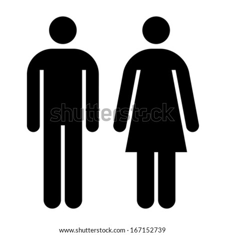 Male and female sign isolated on white background