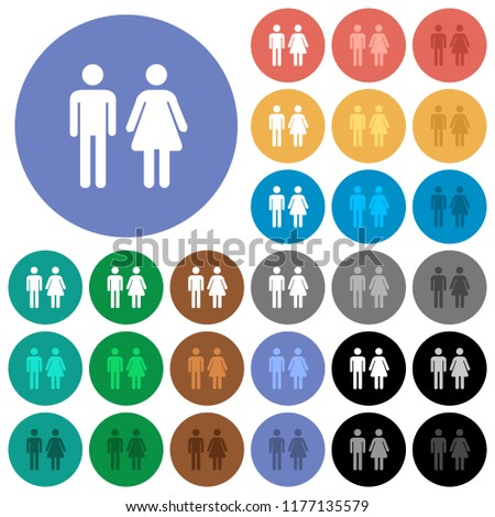 Male and female sign multi colored flat icons on round backgrounds. Included white, light and dark icon variations for hover and active status effects, and bonus shades.