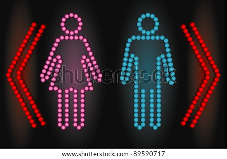 Male and female sign on led lights display