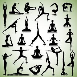 Male and female silhouettes of yogi